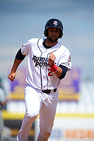 Binghamton Rumble Ponies catcher Colton Plaia (26) running the bases during a game against the Hartford Yard Goats on July 9, 2017 at NYSEG Stadium in Binghamton, New York.  Hartford defeated Binghamton 7-3.  (Mike Janes/Four Seam Images)