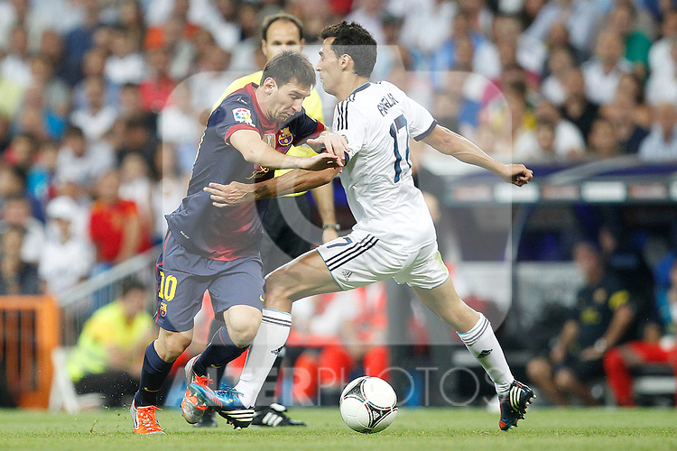 Real Madrid's Alvaro Arbeloa and F.C. Barcelona's Lionel Messi during Spanish Supercup 2nd match on august 29 2012...Photo: Cesar Cebolla / ALFAQUI