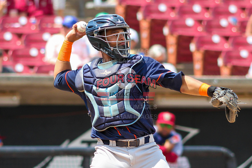 Bowling Green Hot Rods catcher Ronaldo Hernandez (24) throws down to second base between innings during a Midwest League game against the Wisconsin Timber Rattlers on July 23, 2018 at Fox Cities Stadium in Appleton, Wisconsin. Wisconsin defeated Bowling Green 5-3. (Brad Krause/Four Seam Images)