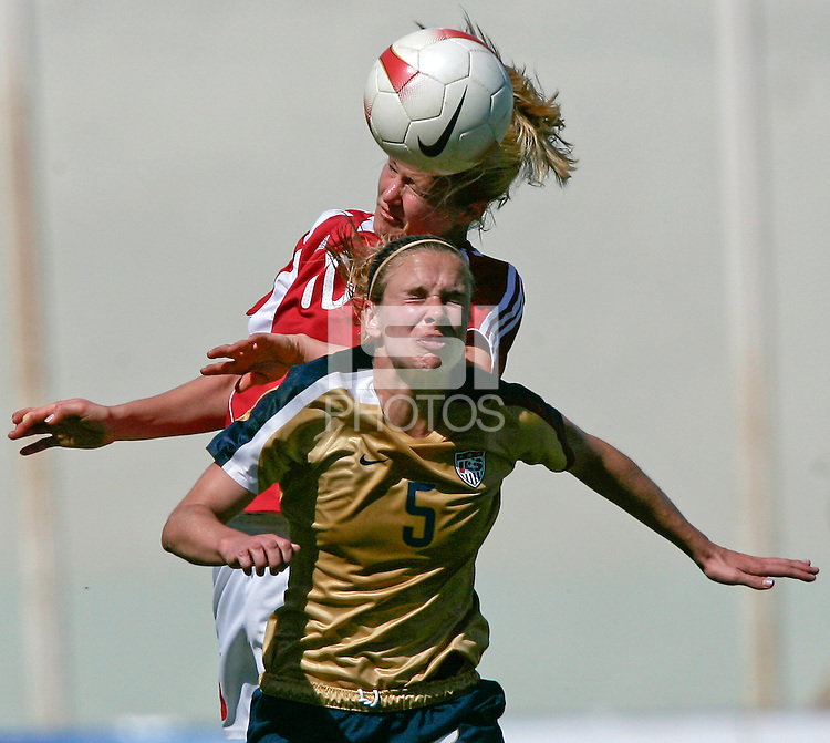 USA's Lindsey Tarpley fights for the ball with Denmark's Camilla Sand. The United States defeated Denmark 2-1 during the finals of the Algarve Cup 2008 at Municipal Stadium in Vila Real de San Antonio, Portugal on March 12, 2008. Paulo Cordeiro/isiphotos.com..