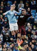 Manchester City's Oleksandr Zinchenko battles with 1899 Hoffenheim's Pavel Kaderabek<br /> <br /> Photographer Rich Linley/CameraSport<br /> <br /> UEFA Champions League Group F - Manchester City v TSG 1899 Hoffenheim - Wednesday 12th December 2018 - The Etihad - Manchester<br />  <br /> World Copyright © 2018 CameraSport. All rights reserved. 43 Linden Ave. Countesthorpe. Leicester. England. LE8 5PG - Tel: +44 (0) 116 277 4147 - admin@camerasport.com - www.camerasport.com