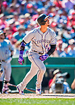 30 July 2017: Colorado Rockies outfielder Carlos Gonzalez in action against the Washington Nationals at Nationals Park in Washington, DC. The Rockies defeated the Nationals 10-6 in the second game of their 3-game weekend series. Mandatory Credit: Ed Wolfstein Photo *** RAW (NEF) Image File Available ***