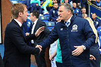 Graham Potter Manager of Swansea City shakes hands with Tony Mowbray Manager of Blackburn Rovers during the Sky Bet Championship match between Blackburn Rovers and Swansea City at Ewood Park in Blackburn, England, UK. Sunday 5th May 2019