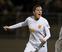 Adriana Martin (8) of the Western NY Flash celebrates a goal during the game at the Maryland SoccerPlex in Boyds, MD.  Washington tied Western NY, 1-1.