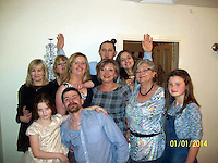Pictured: Lukasz Robert Pawlowski (FRONT CENTRE WITH BEARD) with friends and relatives, image found on open social media page<br /> Re: A man has cut his throat in the dock at Haverfordwest Magistrates' Court as he waited to be sentenced for a sex attack.<br /> Lukasz Robert Pawlowski, 33, had pleaded guilty to sexual assault by grabbing and kissing a shop assistant.<br /> Pawlowski, of Bush Street, Pembroke Dock, was appearing for sentence at the Pembrokeshire court when the incident happened.<br /> He has been taken to a Swansea hospital by air ambulance.<br /> Following the incident, an emergency call was made from the court at 10:20 GMT.<br /> It is unclear where and how Pawlowski gained access to the weapon.<br /> It is understood he lost consciousness and a lot of blood after the incident, but is now awake and is receiving medical treatment.