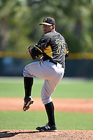 Pittsburgh Pirates pitcher Jhondaniel Medina (75) during a minor league spring training intrasquad game on March 30, 2014 at Pirate City in Bradenton, Florida.  (Mike Janes/Four Seam Images)