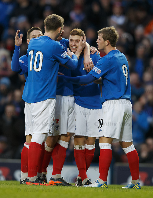 Lewis MacLeod takes the acclaim after scoring for Rangers