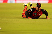 8th January 2018, The WACA, Perth, Australia; Australian Big Bash Cricket, Perth Scorchers versus Melbourne Renegades; Aaron Finch of the Melbourne Renegades knocks the ball forwards during a sliding dive in the field