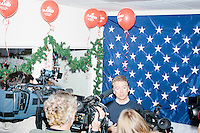 Kentucky senator and Republican presidential candidate Rand Paul speaks to the media during a celebration at his campaign headquarters in Manchester, New Hampshire.
