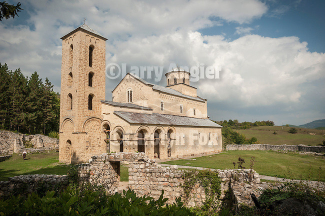 Sopocani Monastery--near Novi Pazar..The Sopocani monastery , an endowment of King Stefan Uro? I of Serbia, was built in the second half of the 13th century, near the source of the Ra?ka River in the region of Ras, the centre of the Serbian medieval state. The church was dedicated to the Holy Trinity and completed around 1265, with interior decorated shortly thereafter. Archbishop Sava II, who became the head of the Serbian Orthodox Church in 1263, is represented in the procession of archbishops in the area of the altar. The frescoes of Sopo?ani are considered by some experts on Serbian medieval art as the most beautiful of that period. On the western wall of the nave is a famous fresco of the Dormition of the Virgin. In the 16th century the monks had to temporarily leave the monastery on several occasions due to the Ottoman threat. Finally, during one raids in 1689 the Ottoman Turks set fire to the monastery and carried off the lead from the church roof. The brotherhood escaped with some important relics to Kosovo - but did not return to Sopo?ani; it remained deserted for over two hundred years, until the 20th century. The church slowly decayed: its vaults caved in, its dome fell down, and the remains of the surrounding buildings were covered with rubble and earth..Finally, during the 20th century the monastery was restored and today it is settled by a thriving brotherhood of dedicated monks. The fact that most of the Sopo?ani frescoes still shine with radiant beauty - surviving more than two centuries of extreme exposure to the elements - many consider nothing less than a divine miracle.
