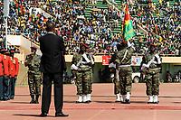 BURKINA FASO, armed soldier at parade in Stadium in Ougadougou /<br /> BURKINA FASO, bewaffnete Garde bei einer Parade im Stadium in Ougadougou