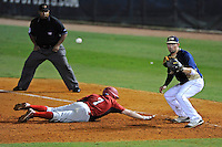2 March 2012:  FIU infielder/outfielder Adam Kirsch (10) waits for the pick-off throw while Brown's J.J. Franco (7) dives back to first as the FIU Golden Panthers defeated the Brown University Bears, 6-5, at University Park Stadium in Miami, Florida.