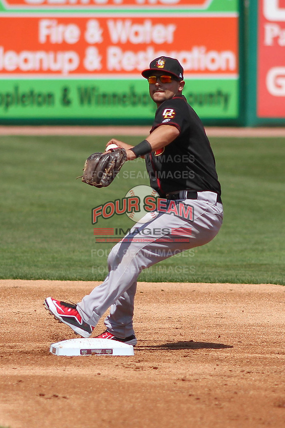 Quad Cities River Bandits second baseman Alex Hernandez (6) turns a double play during a game against the Wisconsin Timber Rattlers on May 2nd, 2015 at Fox Cities Stadium in Appleton, Wisconsin.  Quad Cities defeated Wisconsin 5-2.  (Brad Krause/Four Seam Images)