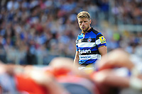 Rhys Priestland of Bath Rugby watches a scrum. Aviva Premiership match, between Bath Rugby and Newcastle Falcons on September 10, 2016 at the Recreation Ground in Bath, England. Photo by: Patrick Khachfe / Onside Images