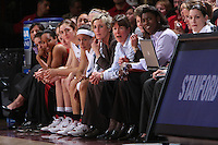 22 March 2008: Melanie Murphy,Hannah Donaghe, Morgan Clyburn, Rosalyn Gold-Onwude, Kate Paye, Tara VanDerveer, Bobby Kelsey and Jackie Zink during Stanford's 85-47 win over Cleveland State during the first round of the NCAA Women's Basketball first round game at Maples Pavilion in Stanford, CA.