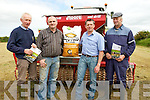 DEMOTRATION: Donal Browne of Brownes & Son Agri Listowel wh invited John Lynch General Manager of Kerry Agri Ballymullen Tralee on Thursday to give a demotration in the reseeding for best practice l-r: George O'Callaghan (castleisland), Donal Browne (Brownes & Sons Agri,ListoweL), John Lynch GM Kerry Agri, Ballymaullen Tralee) and pat Landers Ballymacelligott.