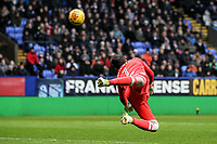 Fulham's Marcus Bettinelli saves a shot from Adam Le Fondre <br /> <br /> Photographer Andrew Kearns/CameraSport<br /> <br /> The EFL Sky Bet Championship - Bolton Wanderers v Fulham - Saturday 10th February 2018 - Macron Stadium - Bolton<br /> <br /> World Copyright &copy; 2018 CameraSport. All rights reserved. 43 Linden Ave. Countesthorpe. Leicester. England. LE8 5PG - Tel: +44 (0) 116 277 4147 - admin@camerasport.com - www.camerasport.com