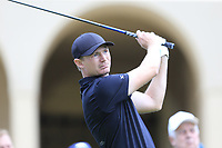 Lasse Jensen (DEN) tees off the 10th tee during Sunday's storm delayed Final Round 3 of the Andalucia Valderrama Masters 2018 hosted by the Sergio Foundation, held at Real Golf de Valderrama, Sotogrande, San Roque, Spain. 21st October 2018.<br /> Picture: Eoin Clarke | Golffile<br /> <br /> <br /> All photos usage must carry mandatory copyright credit (&copy; Golffile | Eoin Clarke)
