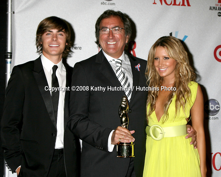 Zac Efron, Kenny Ortega, and Ashley Tisdale  in the Press Room at the ALMA Awards in Pasadena, CA on.August 17, 2008.©2008 Kathy Hutchins / Hutchins Photo....