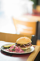 Rib sandwich at Quality Grocery in Raleigh, N.C. on Friday, July 25, 2014. (Justin Cook)