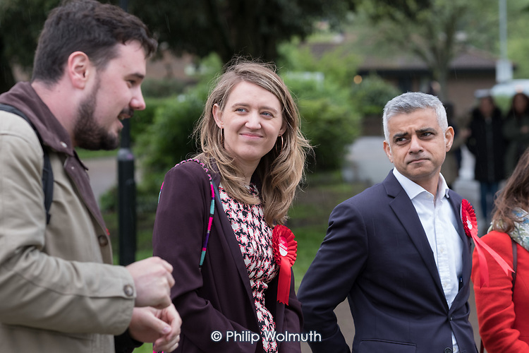 Sadiq Khan with Camden Council leader Georgia Gould and candidate Sorin Floti.  Labour Party local election campaign, Fortune Green, West Hampstead and Swiss Cottage wards, London Borough of Camden.