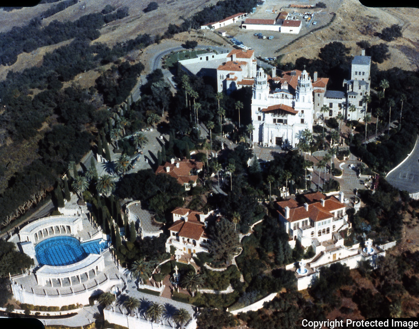 Hearst Castle: Aerial view.  (Finley-Holiday Films)