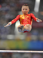 Aug 13, 2008, Beijing, China, China's Kexin He in action during the uneven bars of the women's team gymnastics final at the National Indoor Stadium during the Beijing Olympic Games.<br /> Olimpiadi Pechino 2008<br /> Foto Cspa/Insidefoto