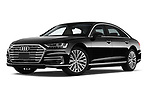 Stock pictures of low aggressive front three quarter view of 2019 Audi A8-L Avus-Extended 4 Door Sedan Low Aggressive