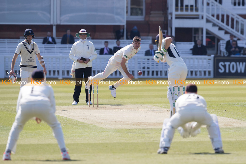 James Anderson of Lancashire CCC bowls to Nick Gubbins of Middlesex CCC during Middlesex CCC vs Lancashire CCC, Specsavers County Championship Division 2 Cricket at Lord's Cricket Ground on 11th April 2019