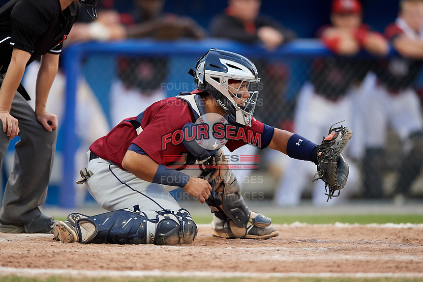 Mahoning Valley Scrappers catcher Gian Paul Gonzalez (4) during the first game of a doubleheader against the Batavia Muckdogs on August 28, 2017 at Dwyer Stadium in Batavia, New York.  Mahoning Valley defeated Batavia 6-3.  (Mike Janes/Four Seam Images)