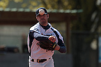 18 April 2010: Pierrick Le Mestre of Savigny throws the ball to first base as he pitches against Senart during game 1/week 2 of the French Elite season won 8-1 by Savigny (Lions) over Senart (Templiers), at Parc municipal des sports Jean Moulin in Savigny-sur-Orge, France.