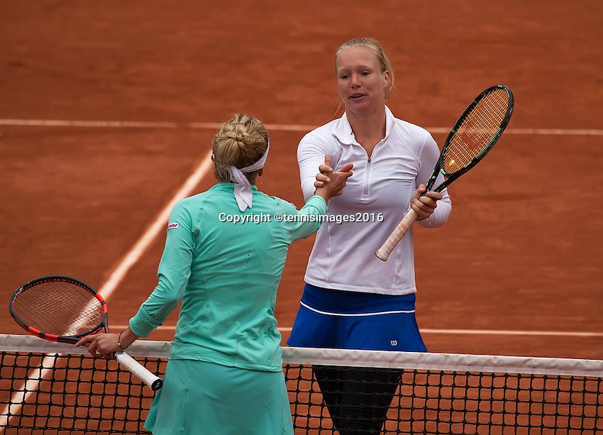 Paris, France, 01 June, 2016, Tennis, Roland Garros, Womans quarter final Kiki Bertens is congratulated by Timea Bacsinszky (SUI)<br /> Photo: Henk Koster/tennisimages.com
