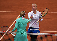 Paris, France, 01 June, 2016, Tennis, Roland Garros, Womans quarter final Kiki Bertens is congratulated by Timea Bacsinszky (SUI)<br /> Photo: Henk Koster/tennisimages.com