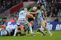 George Robson of Harlequins drives forward into Bernard Le Roux (left) and Camille Gerondeau of Racing Metro 92 during the Heineken Cup match between Harlequins and Racing Metro 92 at the Twickenham Stoop on Sunday 15th December 2013 (Photo by Rob Munro)