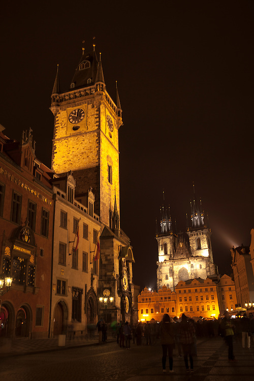 Prague's architecture is brightly illuminated after dark