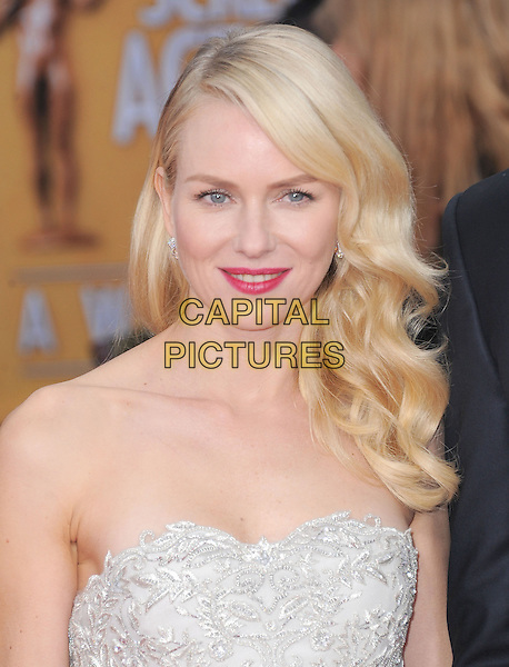 Naomi Watts.Arrivals at the 19th Annual Screen Actors Guild Awards at the Shrine Auditorium in Los Angeles, California, USA..27th January 2013.SAG SAGs headshot portrait grey gray lace strapless pink lipstick    .CAP/DVS.©DVS/Capital Pictures.