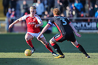 Kyle Dempsey of Fleetwood Town looks for a way past Dean Lewington of MK Dons during the Sky Bet League 1 match between Fleetwood Town and MK Dons at Highbury Stadium, Fleetwood, England on 24 February 2018. Photo by David Horn / PRiME Media Images