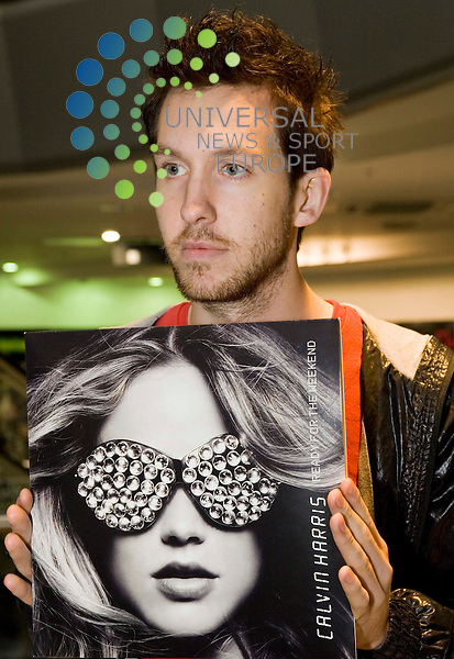 Calvin Harris, celebrating the release of his new album, Ready For The Weekend. at H.M.V. store, Buchanan St Glasgow. Calvin Harris with his new album, Ready for the Weekend. Picture/Johnny Mclauchlan/Universal News and Sport (Scotland)20/08/2009