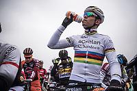 Wout Van Aert (BEL/Crelan-Willems)<br /> <br /> Elite Men's race start<br /> CX Superprestige Noordzeecross <br /> Middelkerke / Belgium 2017
