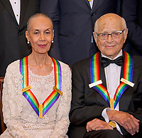 Carmen de Lavallade, left, and Norman Lear, two of the five recipients of the 40th Annual Kennedy Center Honors, as they pose for a group photo following a dinner hosted by United States Secretary of State Rex Tillerson in their honor at the US Department of State in Washington, D.C. on Saturday, December 2, 2017.  The 2017 honorees are: American dancer and choreographer Carmen de Lavallade; Cuban American singer-songwriter and actress Gloria Estefan; American hip hop artist and entertainment icon LL COOL J; American television writer and producer Norman Lear; and American musician and record producer Lionel Richie.  <br /> Credit: Ron Sachs / Pool via CNP /MediaPunch