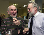 Stan Wolfson, and Tony Marro at champagne get together of Newsday staff in the City room to toast the departure of colleagues on Friday March 1, 2002. (Newsday photo by Jim Peppler).