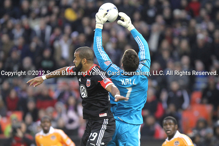 18 November 2012: DC's Maicon Santos (BRA) (29) and Houston's Tally Hall (1). DC United tied the Houston Dynamo 1-1 at RFK Stadium in Washington, DC in the second leg of their 2012 MLS Cup Playoffs Eastern Conference Final series. Houston advanced to MLS Cup 2012 on aggregate goals, 4-2.