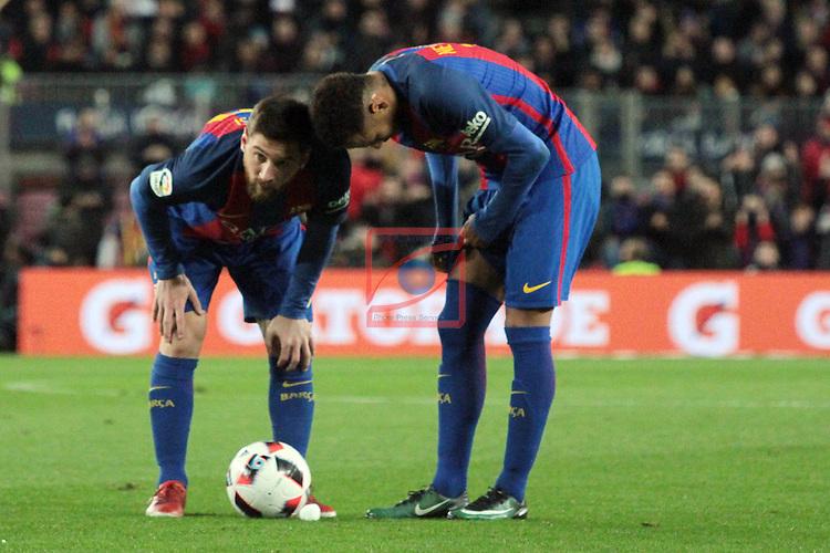 Copa del Rey 2016/2017 - 1/8 final vuelta.<br /> FC Barcelona vs Athletic Club: 3-1.<br /> Lionel Messi &amp; Neymar Jr.