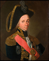 BNPS.co.uk (01202 558833)Pic: PrivateCollection/CourtesyPhilipMouldGallery<br /> <br /> Author Martyn Downer found this painting of Nelson wearing the jewel painted by Leonard Guzzardi in1799.<br /> <br /> Brought back to life - An authors research into the audacious heist that stole Lord Nelson's most valuable jewel has led to the famous treasure being recreated in exact detail.<br /> <br /> The diamond Chelengk became one of the most iconic jewels in British history after he was presented it by a grateful Sultan Selim III of Turkey after his victory at the Battle of the Nile in 1798.<br /> <br /> Nelsons family sold the gem at auction in 1895, and it then found its way to the newly opened National Maritime Museum in Greenwich where it was a star exhibit. <br /> <br /> In 1951 the jewel was stolen in a daring raid by infamous cat-burglar George Chatham and lost forever.<br /> <br /> Now author Martyn Downer has commissioned an exact replica to coincide with the launch of his new book 'Nelson's Lost Jewel' - along with a new tricorn hat from Lock &amp; Co, Nelson's hat makers in the heart of London who are still operating to this day.<br /> <br /> Martyn recently returned the diamond Chelengk, worth hundreds of thousands of pounds, to Nelson's day cabin on HMS Victory in Portsmouth where the National Museum of the Royal Navy will display it...under very tight security.