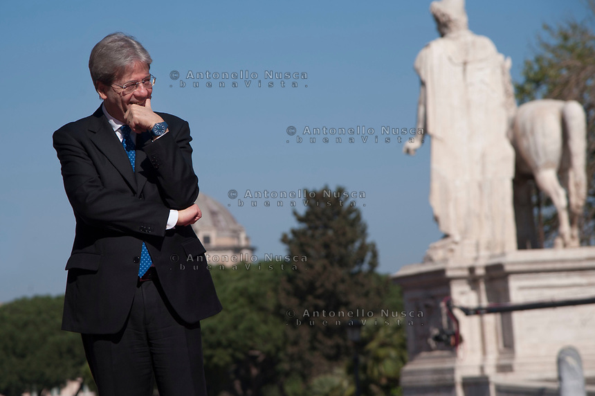 Rome, Italy, March 25,2017. Italian Prime Minister Paolo Gentiloni during arrivals for an EU summit at the Palazzo dei Conservatori in Rome. EU leaders gather in Rome on Saturday to celebrate the 60th anniversary of the EU's founding treaty.