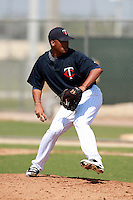 Minnesota Twins minor league pitcher Manuel Soliman delivers a pitch during a game vs. the Boston Red Sox in an Instructional League game at Lee County Sports Complex in Fort Myers, Florida;  October 2, 2010.  Photo By Mike Janes/Four Seam Images