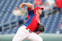 Philadelphia Phillies Scott Mathieson #47 during a scrimmage vs the Florida State Seminoles  at Bright House Field in Clearwater, Florida;  February 24, 2011.  Philadelphia defeated Florida State 8-0.  Photo By Mike Janes/Four Seam Images