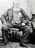 BNPS.co.uk (01202 558833)<br /> Pic:PeterWilsonAuctioneers/BNPS<br /> <br /> Able Seaman James Sharman in old age.<br /> <br /> Auctioneers expect a high price for this poignant item of Nelsonian history...<br /> <br /> The service medal awarded to one of the men who carried a mortally wound Lord Nelson down from the deck where he was shot to his deathbed has emerged for sale for £30,000.<br /> <br /> Able Seaman James Sharman was 20 years old when he served on the HMS Victory during the Battle of Trafalgar on October 21, 1805.<br /> <br /> After Nelson was shot by an eagle-eyed French sniper in the rigging, he helped carry him down to the Orlop deck.<br /> <br /> Sharman was also the inspiration for the Charles Dickens' character Ham Peggotty in his 1850 novel David Copperfield, after the famous author read about his heroic rescue of a crew member from a sea disaster.<br /> <br /> Sharman's Naval Service Medal, with a Trafalgar clasp, is being sold with auction house Peter Wilson, of Nantwich, Cheshire.