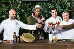Chef Sam Kass, Johann Wald, Chef Miguel Cobo and Chef Jose Luis Martinez during the presentation of Exploratorium of San Miguel Selecta at Museo del Ferrocarril in Madrid. March 22, 2017. (ALTERPHOTOS/Borja B.Hojas)