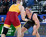 BROOKINGS, SD - NOVEMBER 4:  Alex Macki from South Dakota State battles Nick Nolting from Iowa State in their heavyweight match Friday evening at Frost Arena in Brookings. (Photo by Dave Eggen/Inertia)